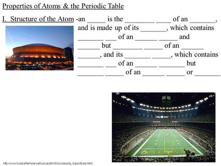 Properties of Atoms & the Periodic Table I. Structure of the Atom-an _____ is the ________ ____ of an _______, and is made up of its _______, which contains.