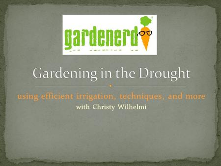 Using efficient irrigation, techniques, and more with Christy Wilhelmi.