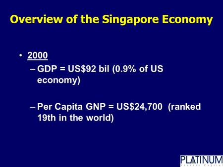 Overview of the Singapore Economy 2000 –GDP = US$92 bil (0.9% of US economy) –Per Capita GNP = US$24,700 (ranked 19th in the world)