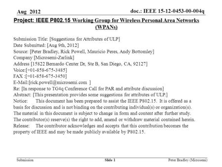 Doc.: IEEE 15-12-0453-00-004q Submission Slide 1 Project: IEEE P802.15 Working Group for Wireless Personal Area Networks (WPANs) Submission Title: [Suggestions.