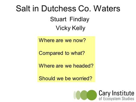 Salt in Dutchess Co. Waters Stuart Findlay Vicky Kelly Where are we now? Compared to what? Where are we headed? Should we be worried?