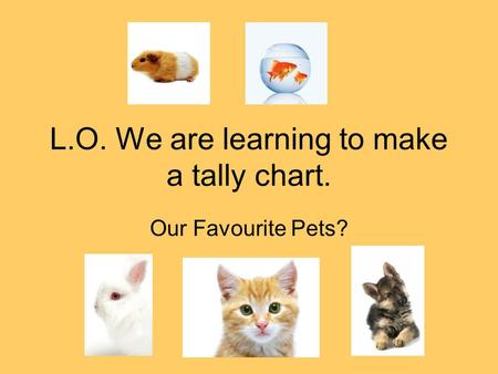 L.O. We are learning to make a tally chart. Our Favourite Pets?