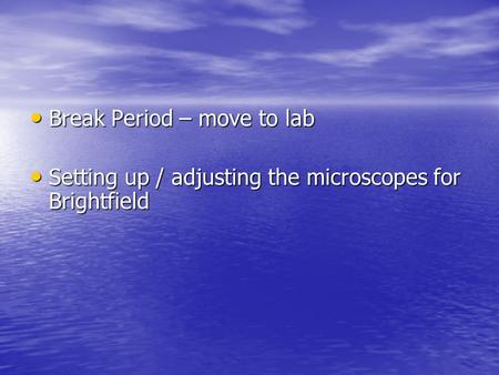 Break Period – move to lab