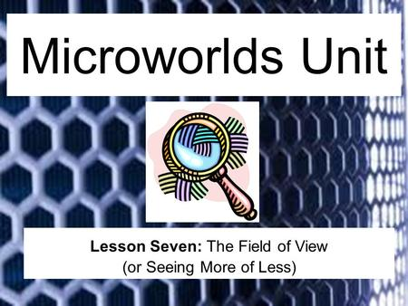 Microworlds Unit Lesson Seven: The Field of View (or Seeing More of Less)