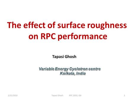 The effect of surface roughness