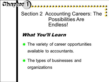 Section 2 Accounting Careers: The Possibilities Are Endless! What You'll Learn  The variety of career opportunities available to accountants.  The types.