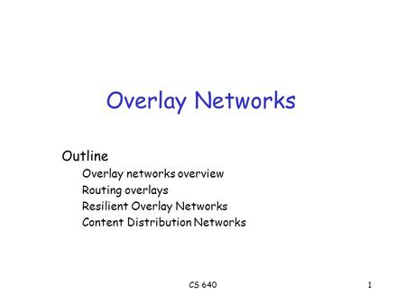 CS 6401 Overlay Networks Outline Overlay networks overview Routing overlays Resilient Overlay Networks Content Distribution Networks.