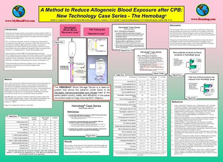 A Method to Reduce Allogeneic Blood Exposure after CPB: New Technology Case Series - The Hemobag ® Keith A. Samolyk CCP, LCP, Global Blood Resources LLC,