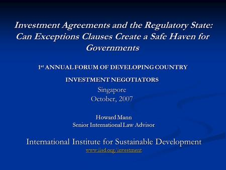 International Investment Agreements - Ppt Download