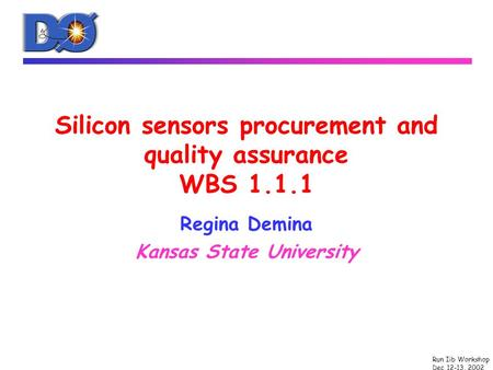 Run Iib Workshop Dec 12-13, 2002 Silicon sensors procurement and quality assurance WBS 1.1.1 Regina Demina Kansas State University.