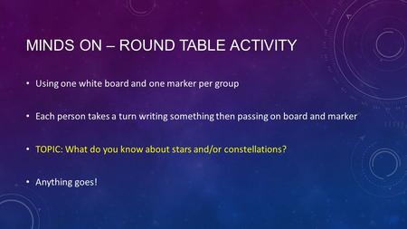 MINDS ON – ROUND TABLE ACTIVITY Using one white board and one marker per group Each person takes a turn writing something then passing on board and marker.