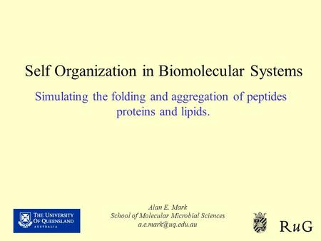 Self Organization in Biomolecular Systems Simulating the folding and aggregation of peptides proteins and lipids. Alan E. Mark School of Molecular Microbial.