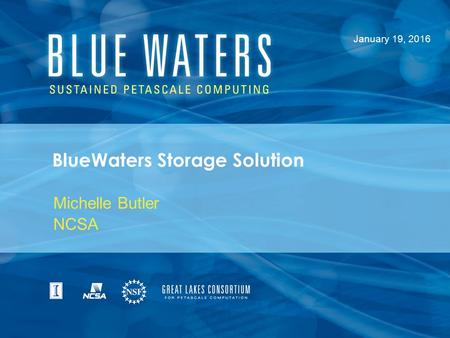 BlueWaters Storage Solution Michelle Butler NCSA January 19, 2016.