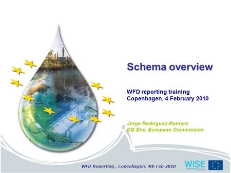 WFD Reporting, Copenhagen, 4th Feb 2010 Schema overview WFD reporting training Copenhagen, 4 February 2010 Jorge Rodriguez-Romero DG Env, European Commission.