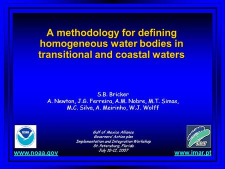 A methodology for defining homogeneous water bodies in transitional and coastal waters S.B. Bricker A. Newton, J.G. Ferreira, A.M. Nobre, M.T. Simas, M.C.