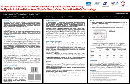 Enhancement of Under Corrected Visual Acuity and Contrast Sensitivity in Myopic Children Using NeuroVision's Neural Vision Correction (NVC) Technology.