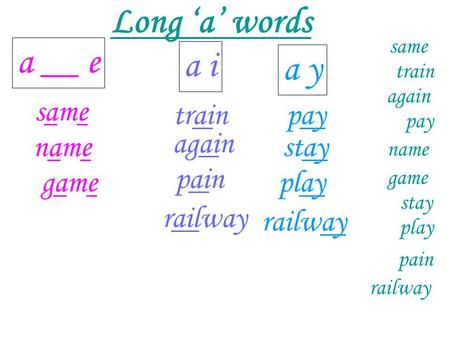 Long 'a' words a __ e a i a y same train pay again name stay pain game