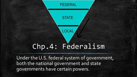 Chp.4: Federalism Under the U.S. federal system of government, both the national government and state governments have certain powers.