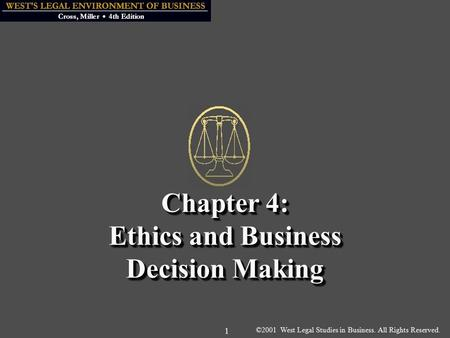 ©2001 West Legal Studies in Business. All Rights Reserved. 1 Chapter 4: Ethics and Business Decision Making.
