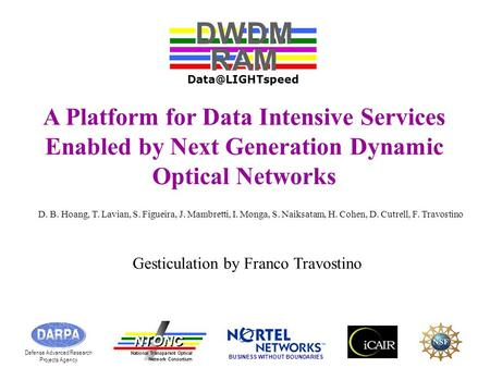A Platform for Data Intensive Services Enabled by Next Generation Dynamic Optical Networks DWDM RAM DWDM RAM Defense Advanced Research.