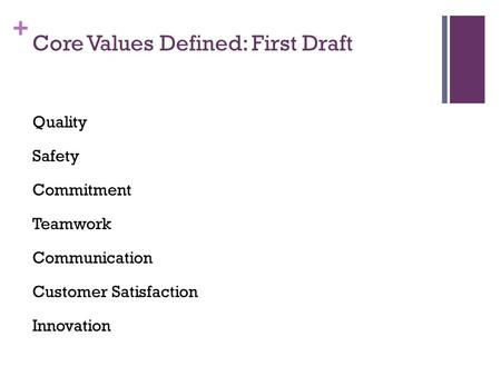 + Core Values Defined: First Draft Quality Safety Commitment Teamwork Communication Customer Satisfaction Innovation.