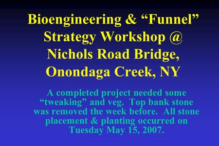 "Bioengineering & ""Funnel"" Strategy Nichols Road Bridge, Onondaga Creek, NY A completed project needed some ""tweaking"" and veg. Top bank stone."