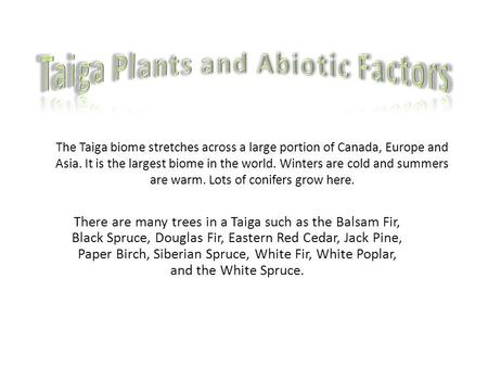 The Taiga biome stretches across a large portion of Canada, Europe and Asia. It is the largest biome in the world. Winters are cold and summers are warm.