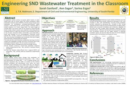 Engineering SND Wastewater Treatment in the Classroom Sarah Sanford 1, Ann Sager 2, Sarina Ergas 2 1. T.R. Robinson; 2. Department of Civil and Environmental.