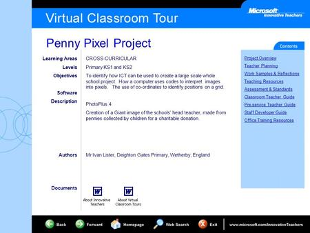 Penny Pixel Project Project Overview Teacher Planning Work Samples & Reflections Teaching Resources Assessment & Standards Classroom Teacher Guide Pre-service.