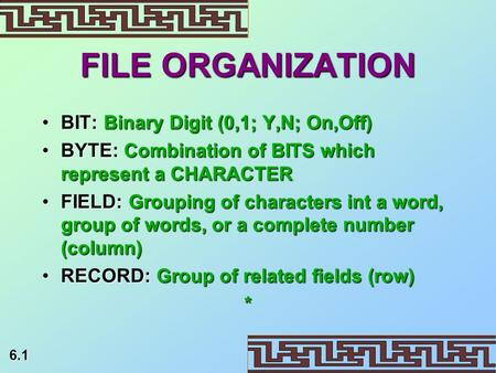 6.1 FILE ORGANIZATION BIT: Binary Digit (0,1; Y,N; On,Off)BIT: Binary Digit (0,1; Y,N; On,Off) BYTE: Combination of BITS which represent a CHARACTERBYTE: