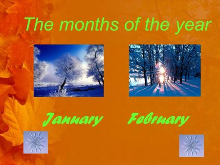 The months of the year January February. The months of the year March April.