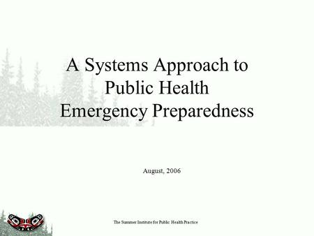 The Summer Institute for Public Health Practice A Systems Approach to Public Health Emergency Preparedness August, 2006.