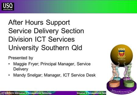 After Hours Support Service Delivery Section Division ICT Services University Southern Qld Presented by Maggie Fryer; Principal Manager, Service Delivery.