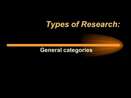 Types of Research: General categories. The general types: 1. Analytical –Historical –Philosophical –Research synthesis (meta-analysis) 2. Descriptive.