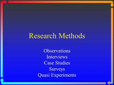 Research Methods Observations Interviews Case Studies Surveys Quasi Experiments.