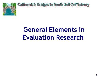 1 General Elements in Evaluation Research. 2 Types of Evaluations.