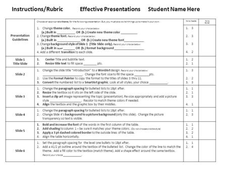 Instructions/RubricEffective Presentations Student Name Here Presentation Guidelines Choose an appropriate theme, for the following presentation. But,