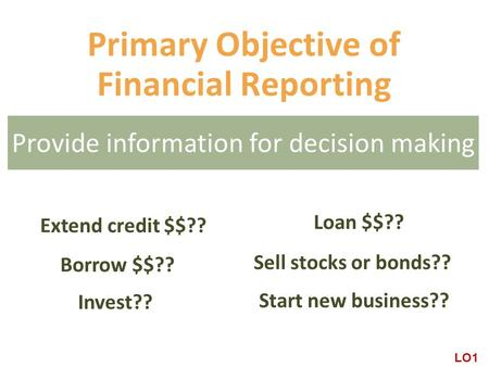 Primary Objective of Financial Reporting Invest?? Borrow $$?? Sell stocks or bonds?? Start new business?? Loan $$?? Extend credit $$?? LO1 Provide information.