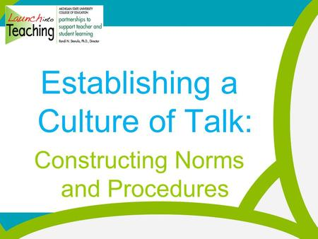 Establishing a Culture of Talk: Constructing Norms and Procedures.