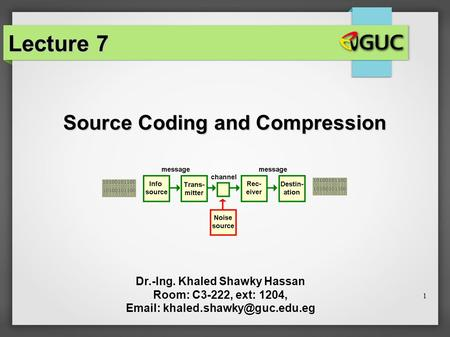 1 Source Coding and Compression Dr.-Ing. Khaled Shawky Hassan Room: C3-222, ext: 1204,   Lecture 7.
