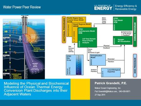 1 | Program Name or Ancillary Texteere.energy.gov Water Power Peer Review Modeling the Physical and Biochemical Influence of Ocean Thermal Energy Conversion.