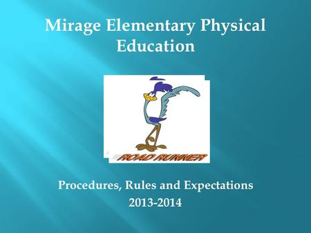 Procedures, Rules and Expectations 2013-2014 Mirage Elementary Physical Education.