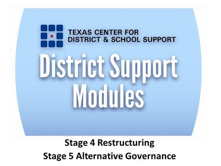 Stage 4 Restructuring Stage 5 Alternative Governance.