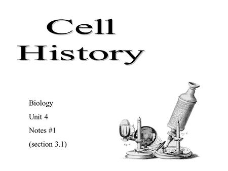 Biology Unit 4 Notes #1 (section 3.1) All life is made of cells Cells discovered after microscope invented 1665: Robert Hooke first observed cork (dead.