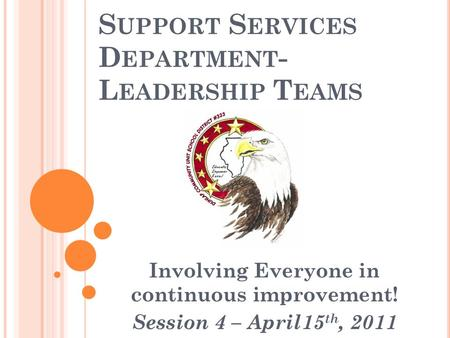 S UPPORT S ERVICES D EPARTMENT - L EADERSHIP T EAMS Involving Everyone in continuous improvement! Session 4 – April15 th, 2011.