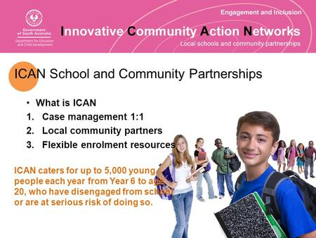 ICAN School and Community Partnerships What is ICAN 1.Case management 1:1 2.Local community partners 3.Flexible enrolment resources ICAN caters for up.