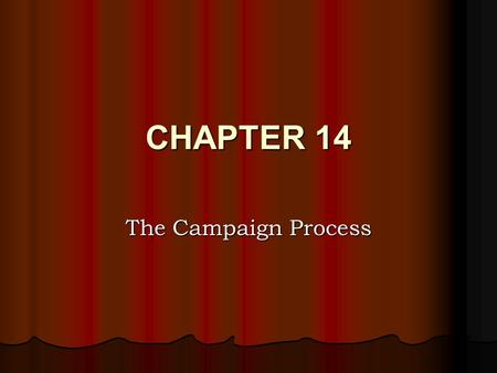 CHAPTER 14 The Campaign Process. Nomination Process Once a candidate declares his/her intention to run their focus is on winning the nomination of their.