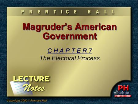 Copyright, 2000 © Prentice Hall Magruder's American Government C H A P T E R 7 The Electoral Process.