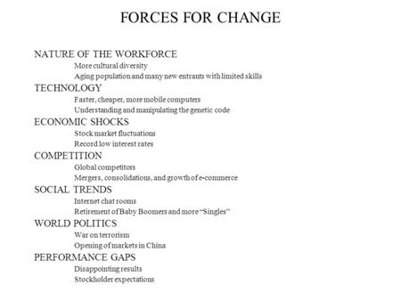 FORCES FOR CHANGE NATURE OF THE WORKFORCE More cultural diversity Aging population and many new entrants with limited skills TECHNOLOGY Faster, cheaper,