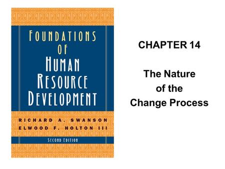 CHAPTER 14 The Nature of the Change Process. Perspectives on Change for HRD.